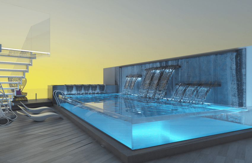 glass wall pool