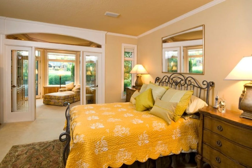 french doors in master bedroom