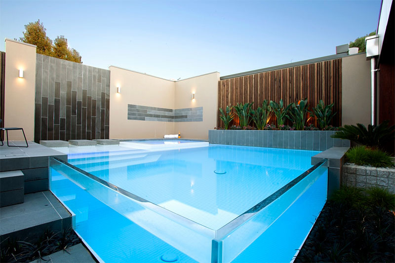 glass swimming pools