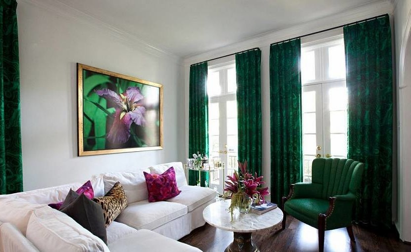 Living room in green colors