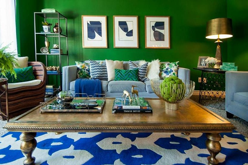 The combination of blue and green