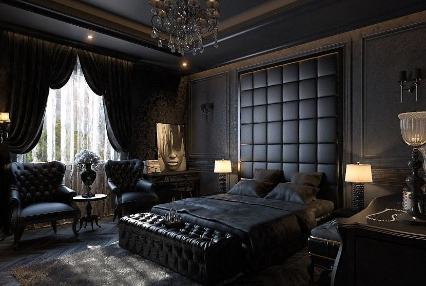 Gothic in the bedroom interior