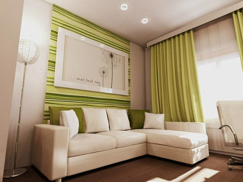 Green curtains in the interior