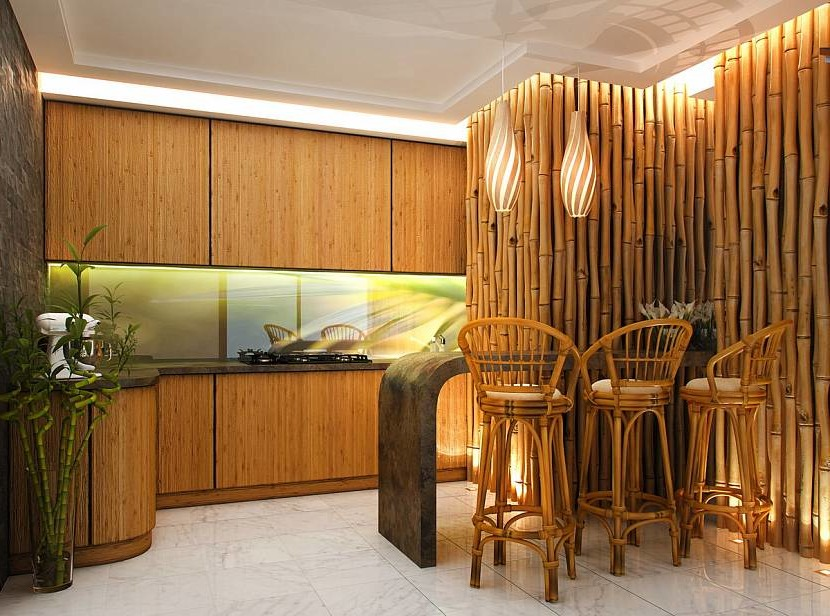 Bamboo furniture in the interior