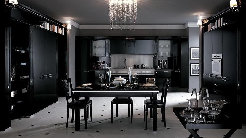 The combination of black and white in the kitchen