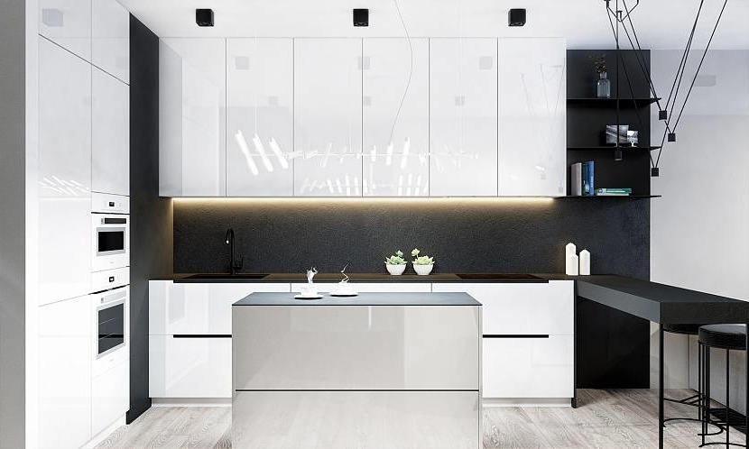 Black matte wall in the kitchen