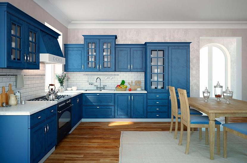Linear blue and white kitchen