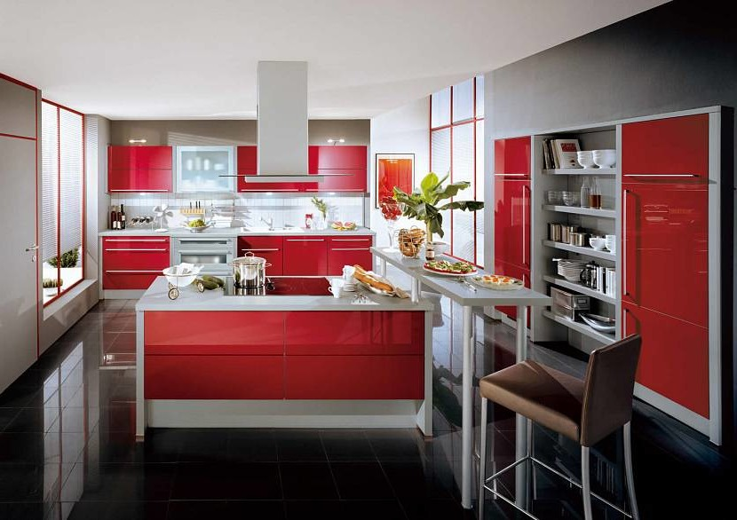 Beautiful red and black kitchen