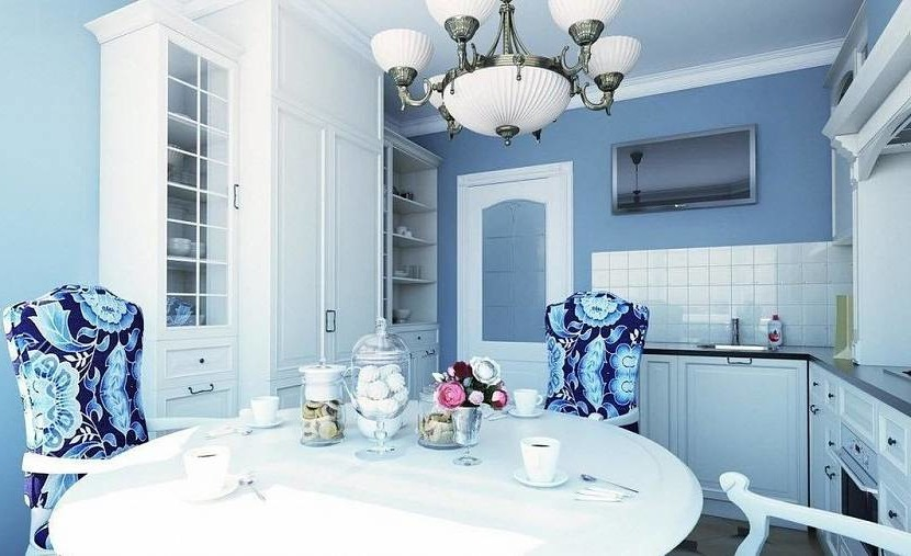 Small kitchen with blue walls
