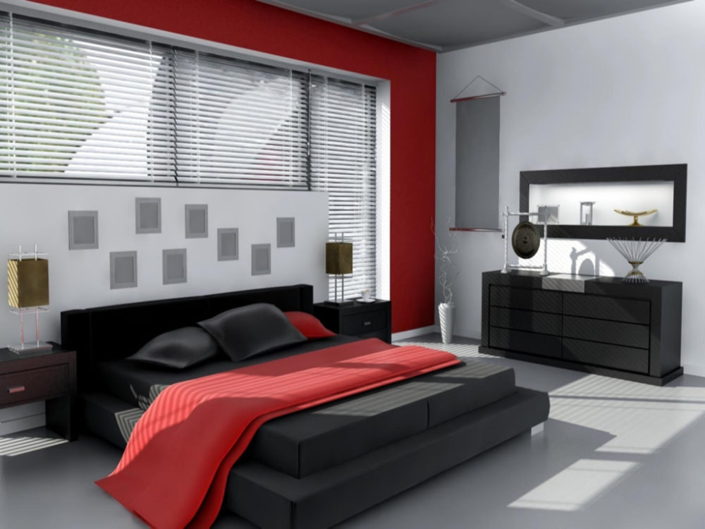black and red bedroom