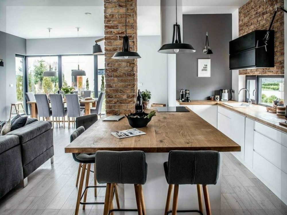 kitchens with light wood floors